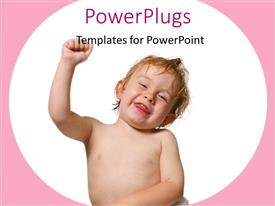 PowerPlugs: PowerPoint template with cute little baby smiling while he punches the air on white background