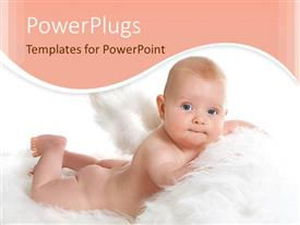 PowerPoint template displaying cute naked baby laying on feathers, angel, peach wave border