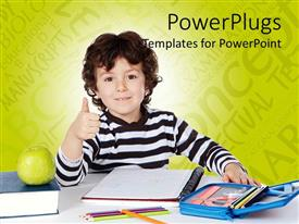 PowerPlugs: PowerPoint template with a cute pupil with a green apple and some books