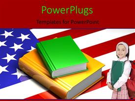 PowerPlugs: PowerPoint template with a cute pupil standing on an American flag with a stack of books