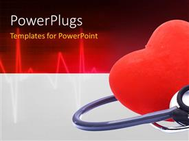 PowerPlugs: PowerPoint template with cute red heart with a stethoscope medical background