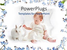 PowerPlugs: PowerPoint template with a cute small baby playing with a white rabbit