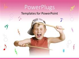PowerPlugs: PowerPoint template with a cute small boy shouting and holding drum sticks