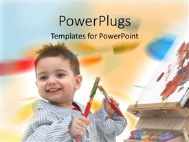 PowerPlugs: PowerPoint template with cute small male kid holding two paint brushes with a canvas