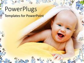 PowerPlugs: PowerPoint template with a cute smiling bay wrapped with a yellow towel