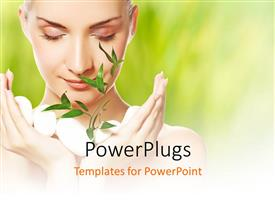 PowerPlugs: PowerPoint template with cute woman with closed eyes holding white stones and plant in hand
