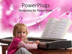 PowerPoint template displaying cute young child playing a piano with an open music book