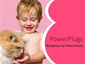 PowerPlugs: PowerPoint template with a cute young clothes baby playing with a cat