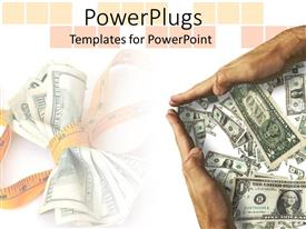 PowerPlugs: PowerPoint template with cutting costs metaphor with measuring tape wrapped around US dollars, hands around money bills