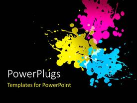 PowerPlugs: PowerPoint template with cyan magenta yellow paint splatters on black background