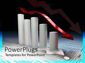 PowerPlugs: PowerPoint template with cylindrical bar chart melting on a paper with lots of numbers