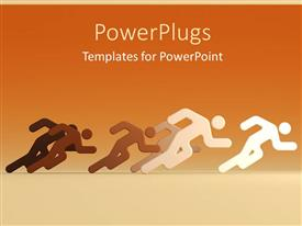 PPT featuring d characters running together on n orange background