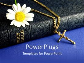 PowerPoint template displaying daisy and crucifix on old Bible