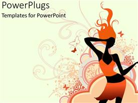 PowerPoint template displaying a dancing girl with beautiful dress and various figures in the background