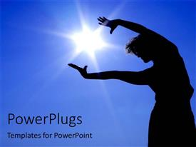 PowerPlugs: PowerPoint template with dancing silhouette embracing sun, clear blue sky