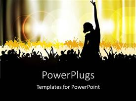 Elegant PPT layouts enhanced with dancing silhouettes with bright yellow light