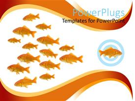PowerPlugs: PowerPoint template with dare to be different metaphor with one goldfish swimming in different direction from other fish