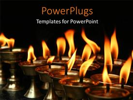 PowerPlugs: PowerPoint template with dark background with several Memorial candles lighted