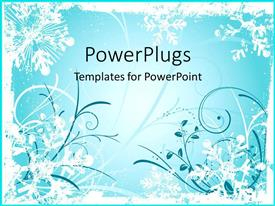 PowerPoint template displaying dark blue and white floral patterns on teal background