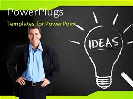 PowerPlugs: PowerPoint template with light bulb depicting bright idea on chalkboard with man standing by