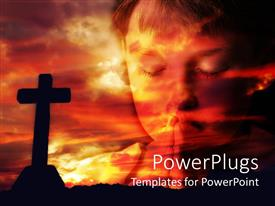 PowerPoint template displaying dark cross and cloud at sunset with little boy praying