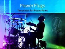 PowerPlugs: PowerPoint template with dark depiction of drummer singing at his drums and headphones with microphone in the background