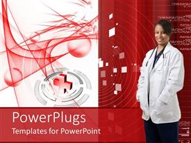 PowerPoint template displaying dark female doctor in white on a red background