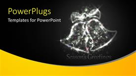 Beautiful presentation design with two shinning transparent chirstmas bells over a black background