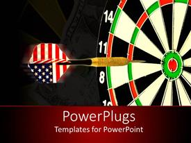 PowerPlugs: PowerPoint template with dart with American flag flight about to hit center of target