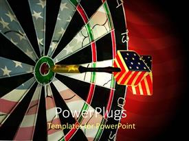 PowerPoint template displaying dart with American flag pattern hits bulls eye of target bard