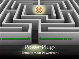 PowerPlugs: PowerPoint template with a dart board in the middle of a 3D labyrinth