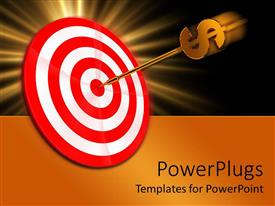 PowerPlugs: PowerPoint template with a dart with dollar sign on a red and white dart board