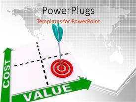 PowerPoint template displaying dart hitting bulls eye on cost value matrix