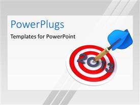 PowerPlugs: PowerPoint template with a dart hitting the bulls eye with white background