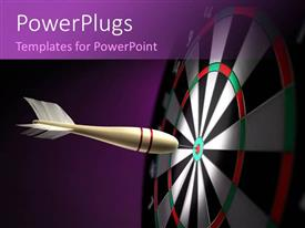 PowerPlugs: PowerPoint template with a dart hitting at the center of the dartboard and purple background