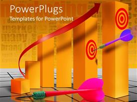 PowerPlugs: PowerPoint template with a dart hitting the target  with alphabetical background