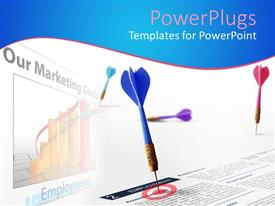 PowerPlugs: PowerPoint template with a dart hitting the target on a document