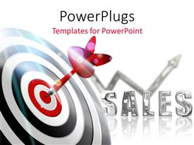 PowerPlugs: PowerPoint template with a dart hitting on target with white background and place for text