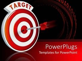 PowerPlugs: PowerPoint template with dart in middle of a target red and white bullseye with dart in center