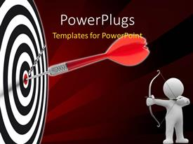 PowerPlugs: PowerPoint template with a dart on target with a person aiming and brownish background