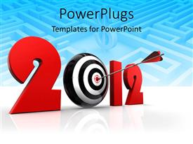 PowerPlugs: PowerPoint template with a dartboard in the background with bluish background