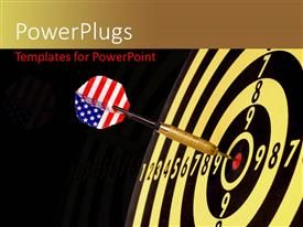 PowerPlugs: PowerPoint template with a dartboard with a dart in the middle and blackish background