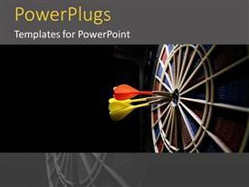 PowerPlugs: PowerPoint template with dartboard and darts target center target goals planning black background