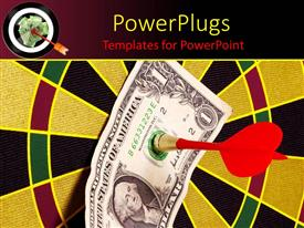 PowerPlugs: PowerPoint template with a dartboard with a dollar note and a dart