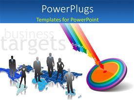 PowerPlugs: PowerPoint template with a dartboard with a number of colorful arrows