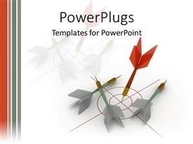 PowerPlugs: PowerPoint template with darts on the target hitting missing goal as a metaphor white background