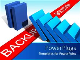 PowerPlugs: PowerPoint template with data backup metaphor with dominoes falling toward the words back up solution on red ribbon