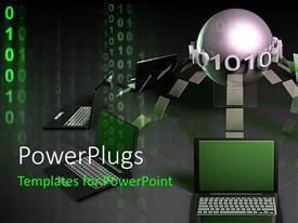 PowerPlugs: PowerPoint template with a number of laptops connected to a central point