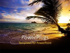 PowerPlugs: PowerPoint template with a date tree on the beach with sea in the background