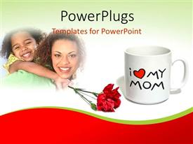PowerPlugs: PowerPoint template with daughter and mother having fun with rose flower and cup